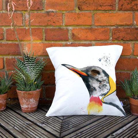 Inky Penguin Cushion by Kate Moby on OOSTOR.com