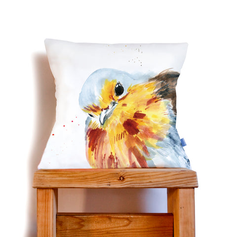 Inky Robin Cushion by Kate Moby on OOSTOR.com