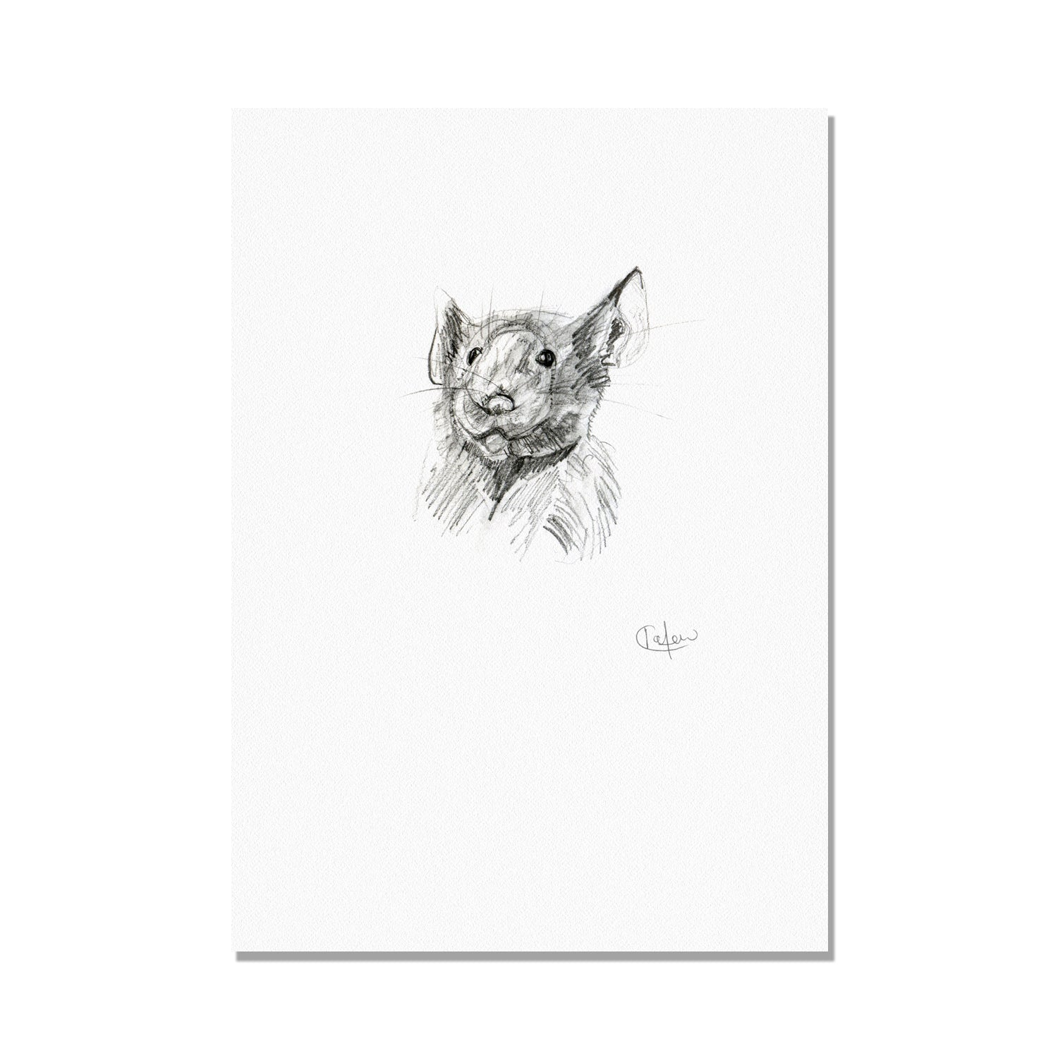 Cheeky Pencil Mouse Illustration Print by Kate Moby on OOSTOR.com
