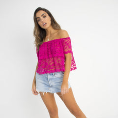 Flirty Lace Crop Top Pink by Wired Angel Ltd on OOSTOR.com