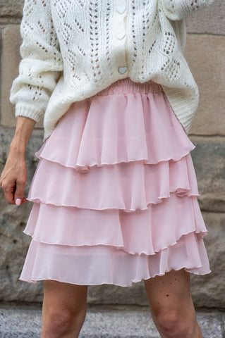 Love Angel Chiffon Mini Skirt with Frills in Pink