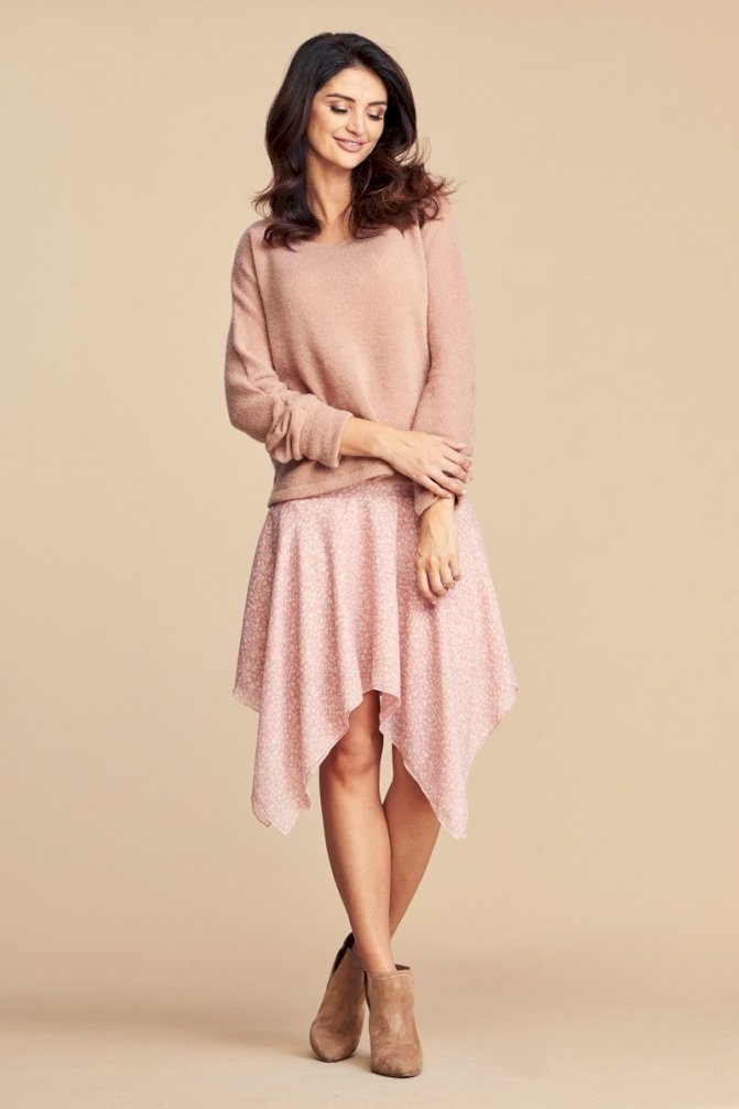 Chiffon Asymmetrical Midi Skirt in Pink
