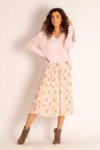 Audrey Floral Pleated Midi Skirt in Pink
