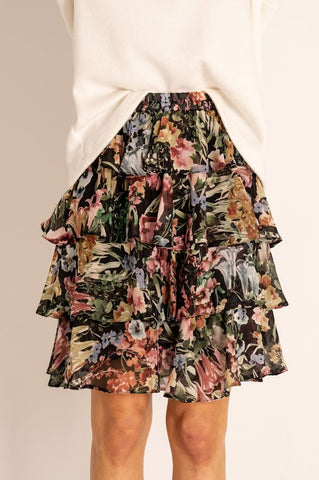 Black Love Angel Four-tier Frill Mini Skirt Floral