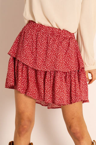 Red Love Heart Print Mini Skirt with Frills