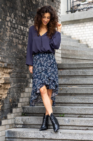 Monica Asymmetrical Frill Midi Skirt in Navy