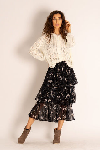 Silvia Floral Asymmetric Midi Skirt with Frills in Black
