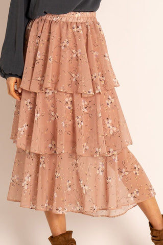 Silvia Floral Asymmetric Midi Skirt with Frills in Pink