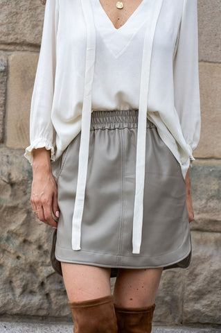 Sofia Asymmetrical Eco-Leather Skirt in Grey