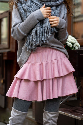 Isabella Pink Woollen Mini Skirt with Frills