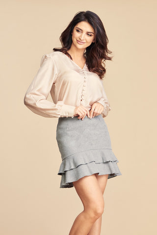 Wool Mini Skirt With Frills in Grey