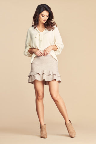 Wool Mini Skirt With Frills in Beige