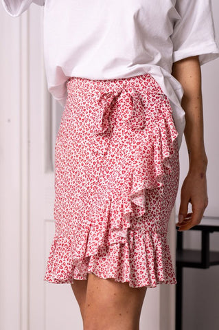 Carla Heart Print Wrap Mini Skirt with Frills in Pink