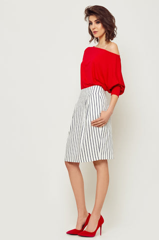 White and Black Striped Skirt by Bubala