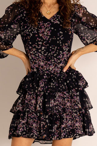 Celin Floral Loose Fit Mini Dress with Frills in Black