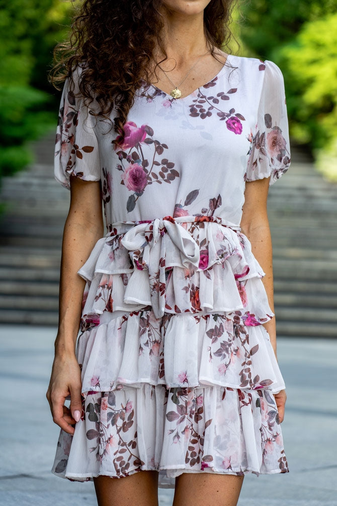 Love Angel Floral Puff Sleeve Dress with Frills in White