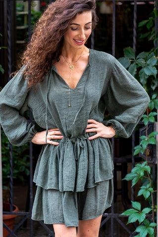 Green Mia Dress with Two Frills by Angell