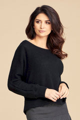 Oversize Wide Cuff U Neck Sweater Alice in Black