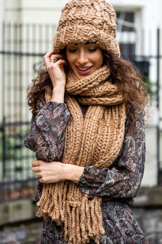 Women's Handmade Brown Woollen Scarf