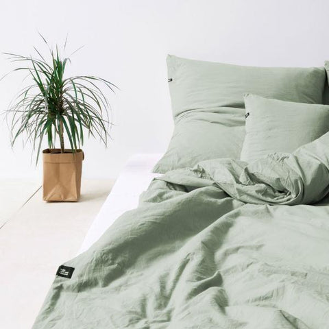 Sage Green Pure Cotton Flat Bed Sheet by HOP Design on OOSTOR.com