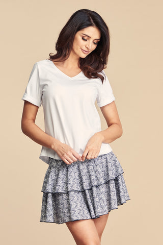 Women's Basic White Cotton T-Shirt with Rolled Up Sleeves by Angell