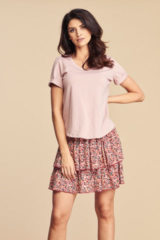 Women's Basic Pink V-neck Cotton T-Shirt by Angell