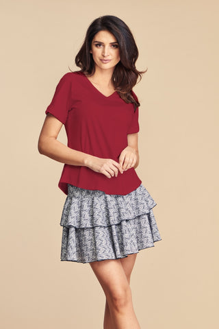 Women's Basic Burgundy V-neck Cotton T-Shirt by Angell