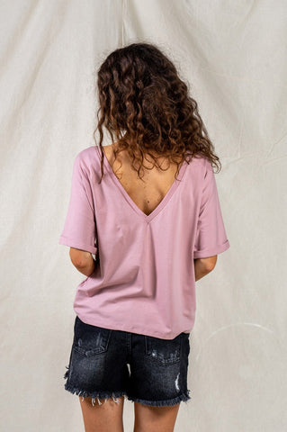 Round Neck Pink T-shirt with Oversized Back Cover by Angell