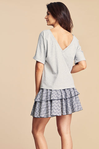 Light Grey T-shirt with Rolled Up Sleeves by Angell