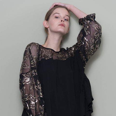 Black Oversized Top With Sequinned Sleeves by Minkie London on OOSTOR.com