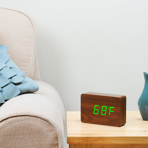 Brick Click Clock by Gingko Walnut and Green LED