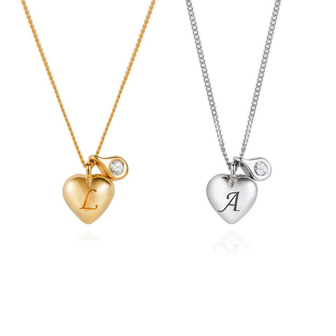 Heart Initial & Diamond Necklace by Lee Renee on OOSTOR.com