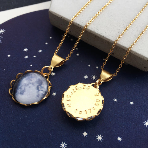 Under This Moon - Personalised Moon Phase Charm Necklace by Eclectic Eccentricity on OOSTOR.com