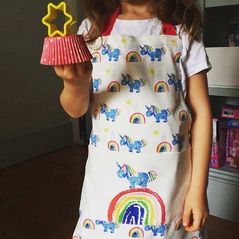 Child's Unicorn Apron with Pocket