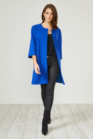 Blue Textured Smart Coat Jacket by Urban Touch