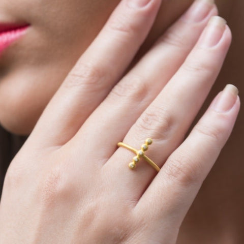 Gold Vermeil With Zirconia Crystal Ring by Jasmine White on OOSTOR.com