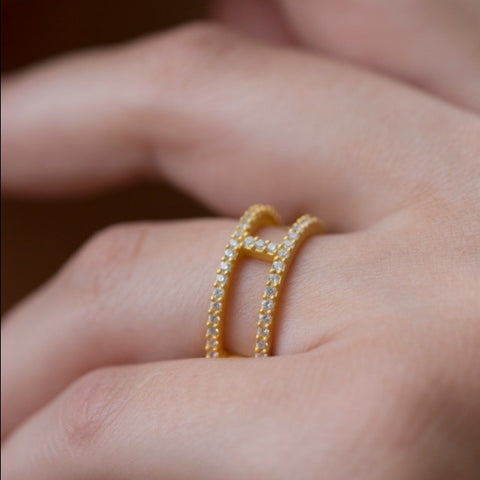 White Zirconia Double Band In Gold Vermeil by Jasmine White on OOSTOR.com