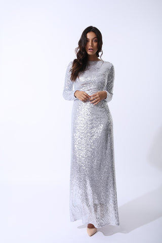 Amal Silver Glitter Sequin Maxi Dress by Zalinah White on OOSTOR.com