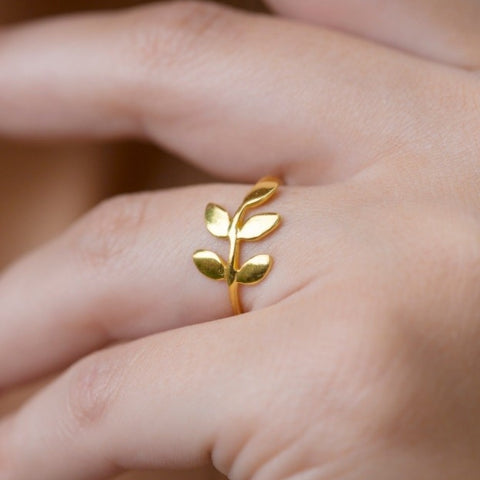 Gold Vermeil Leaf Ring by Jasmine White on OOSTOR.com