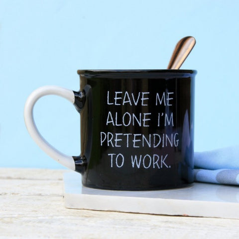 Black Pretending To Work Mug by Sole Favors on OOSTOR.com