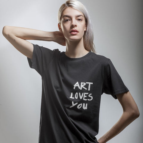 Women's Black art Loves You T-Shirt by Vedrana Mastela on OOSTOR.com