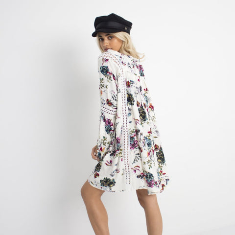 White Floral Swing Dress by Wired Angel Ltd on OOSTOR.com