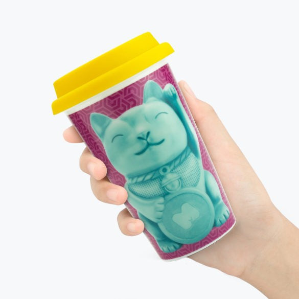 Lucky Cat Reusable Coffee Mug by Mustard Gifts on OOSTOR.com