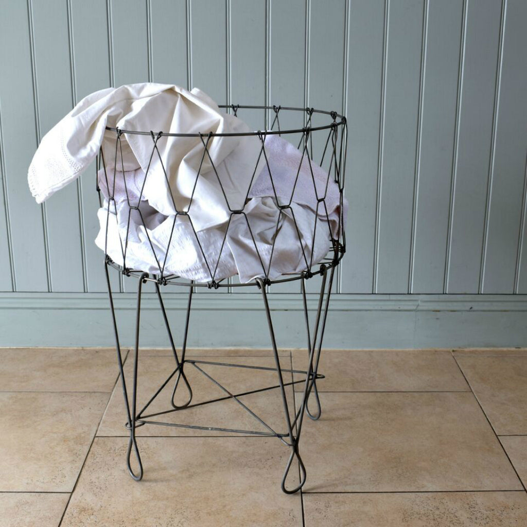 Fold Down Retro Wirework Laundry Basket by Hunter Gatherer on OOSTOR.com