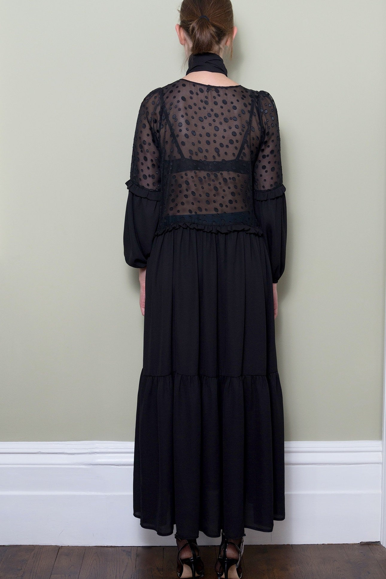 7a895afdccf Black Polka Dot Maxi Dress With Frill Detail by Minkie London on OOSTOR.com