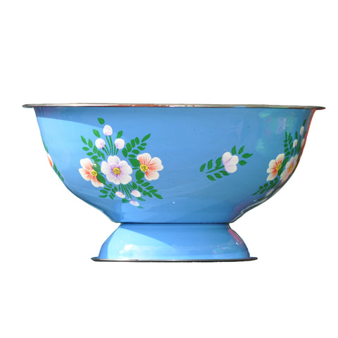 Azure Blue Bowl With White Posy Pattern by Jasmine White on OOSTOR.com