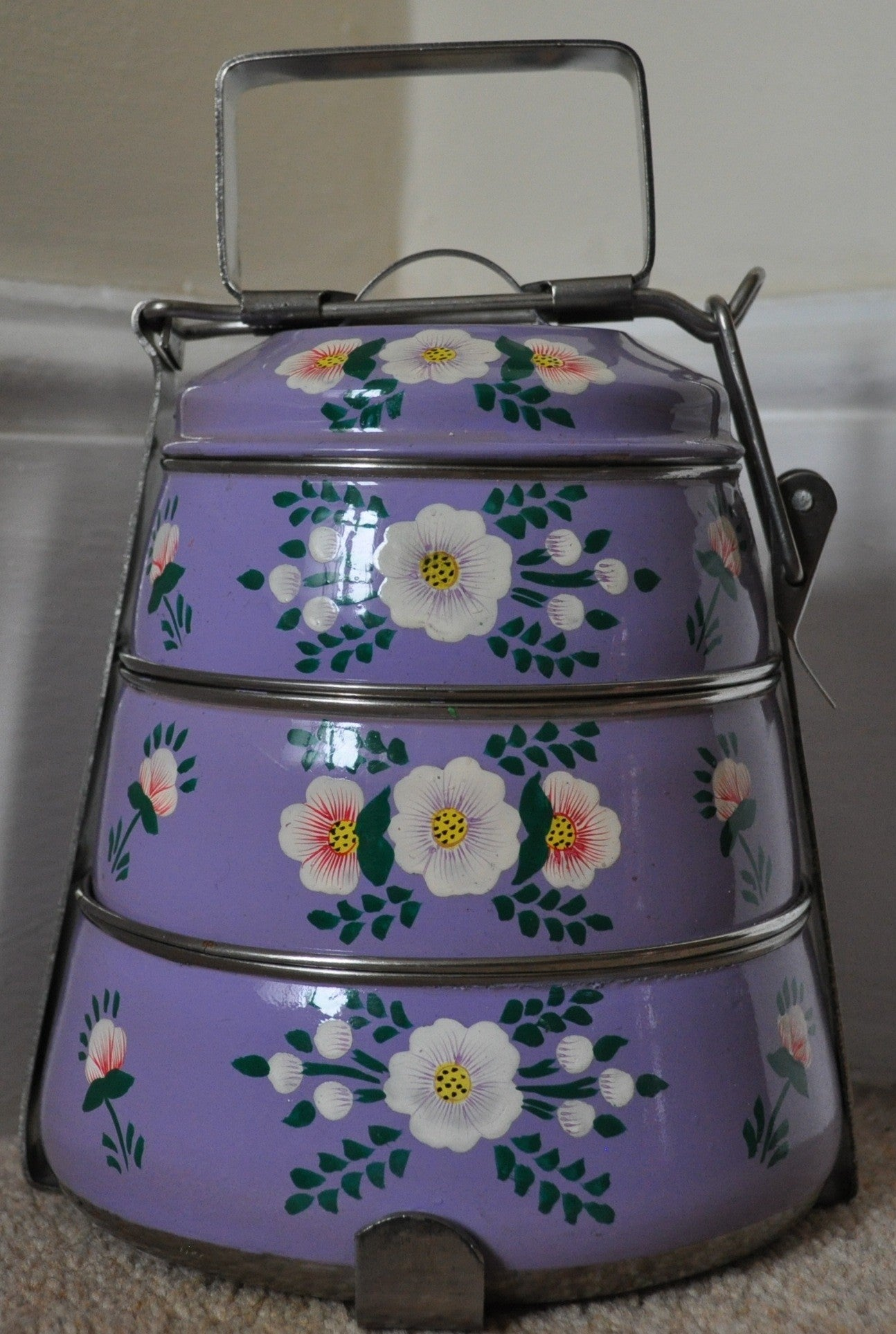 Lilac Enamelware Tiffin Pot by Jasmine White on OOSTOR.com