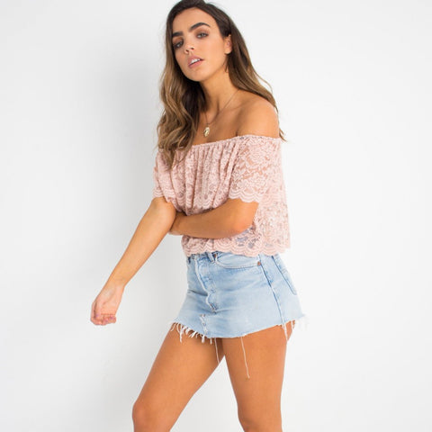 Flirty Lace Crop Top Pale Pink by Wired Angel Ltd on OOSTOR.com