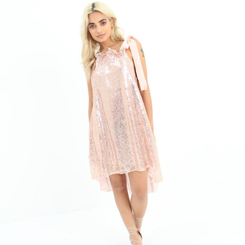 Rose Gold Sequin Dress by Wired Angel Ltd on OOSTOR.com