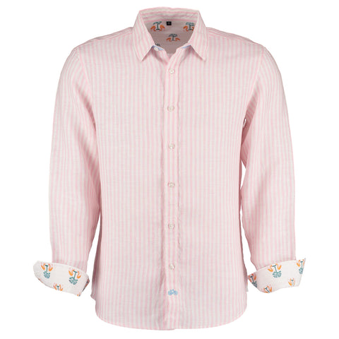Kutch Pink Stripe Linen Shirt by Tobias Clothing on OOSTOR.com